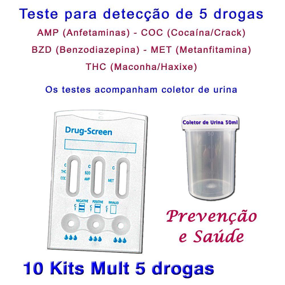 10 Kits para testes de 5 substâncias