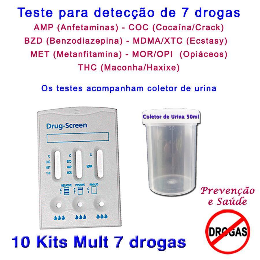 10 Kits para testes de 7 substâncias  - Prevenção e Saúde