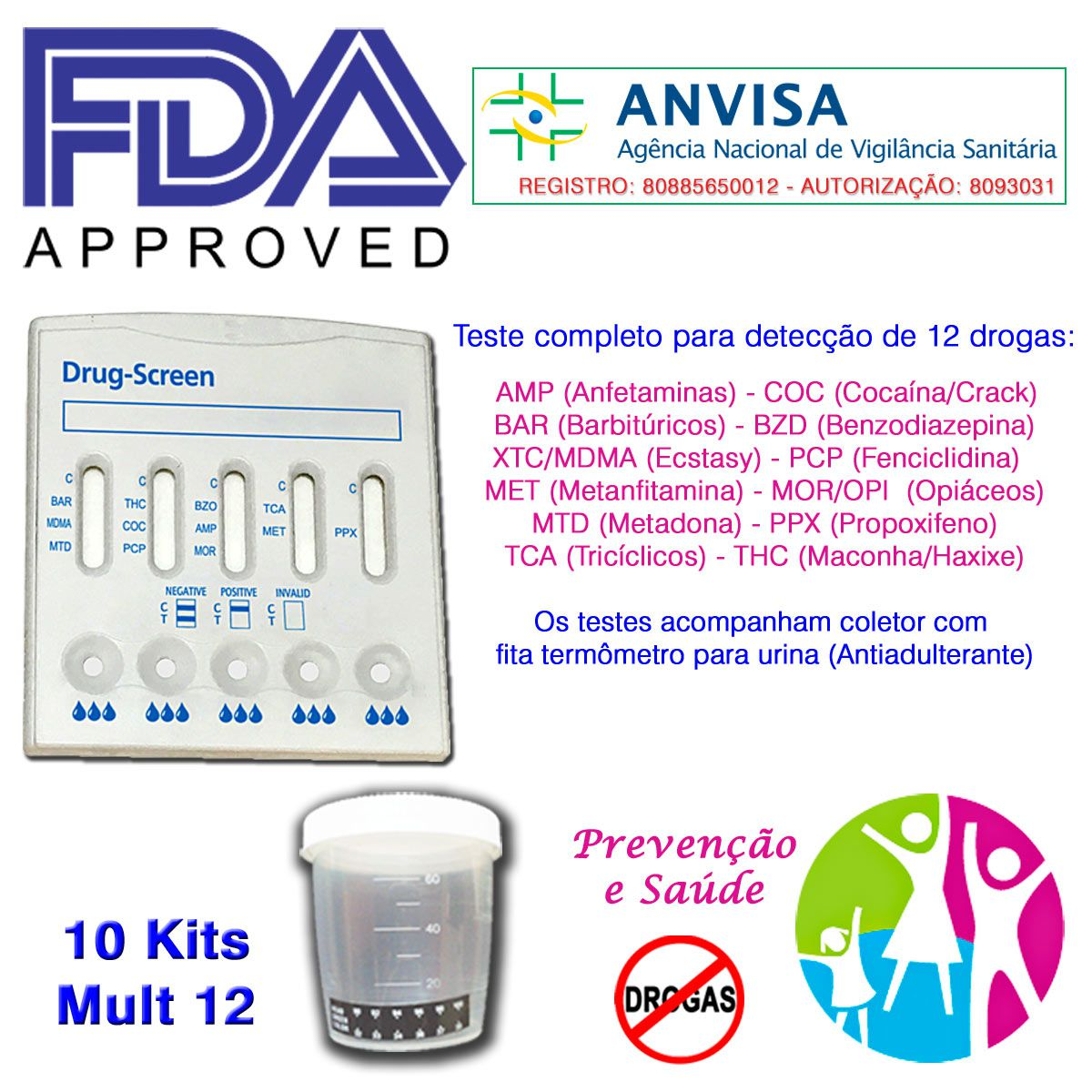 10 Kits para testes de doze substâncias com coletor de urina  - Prevenção e Saúde