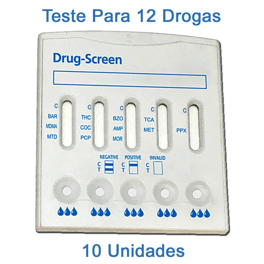 10 Kits Para Testes Mult 12  - Testes Para COVID e Drogas. Máscaras Descartáveis e Suplementos e Anti Tabaco