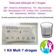 01 Kit para teste de sete substâncias: AMP + COC + MET + MOR + THC + XTC + BZD com coletor de urina.