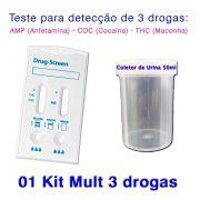01 Kit para teste de três substâncias - AMP+COC+THC com coletor de urina