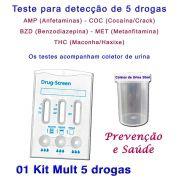 01 Kit para testes de 5 substâncias