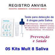 05 Kits para auto teste 8 substâncias pela Saliva. Faça em casa e veja os resultados em dez minutos