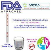 05 Kits para teste de COC-CRACK com coletor de urina