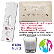 05 Kits para teste de duas substâncias: R$110,00 - COC+THC com coletor de urina