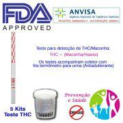 05 Kits para teste de THC com coletor de urina