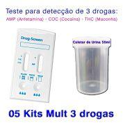 05 Kits para teste de três substâncias - AMP+COC+THC com coletor de urina