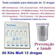 05 Kits para testes de 12 substâncias