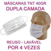 100 Máscaras em TNT duplo branco