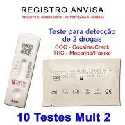 10 Kits para teste de 2 substâncias - COC+THC