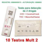 10 Kits para teste (urina) de 2 substâncias COC + THC - Faça em casa e veja o resultado em 10 minutos