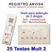 25 Kits para teste de 2 substâncias - COC+THC