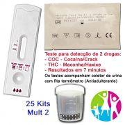 25 Kits para teste de duas substâncias: R$450,00 - COC+THC com coletor de urina