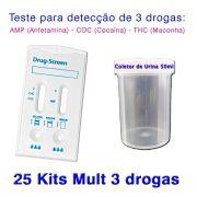 25 Kits para teste de três substâncias - AMP+COC+THC com coletor de urina