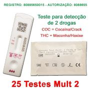 25 Kits para teste (urina) de 2 substâncias - COC + THC - Faça em casa e veja os resultados em dez minutos