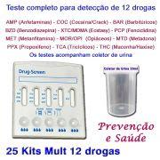 25 Kits para testes de 12 substâncias