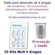25 Kits para testes de 5 substâncias