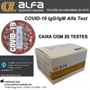 Teste Rápido COVID-19 IgM/IgG ALFA TEST - Caixa com 25 unidades