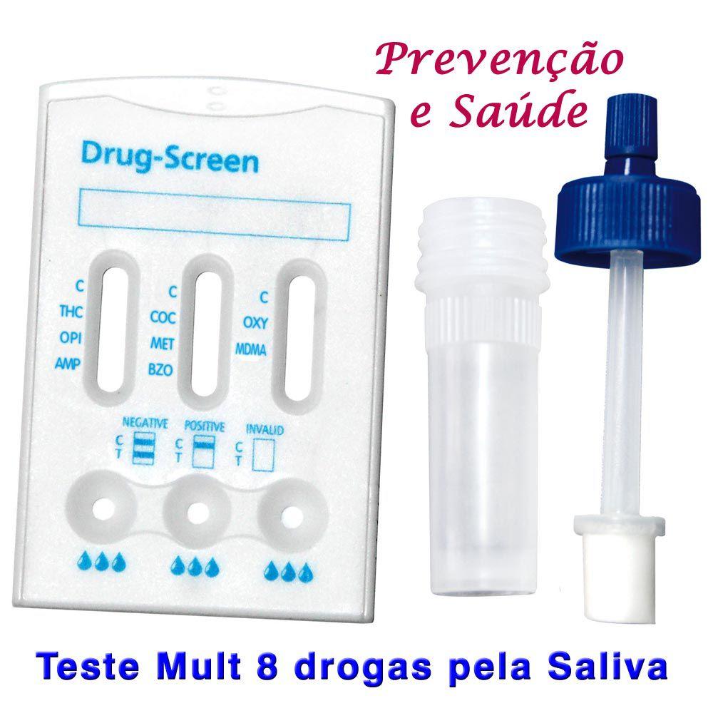 20 Kits Para Testes Mult 8 Pela Saliva  - Testes Para Drogas e COVID-19. Máscaras e Como Parar de Beber e Fumar