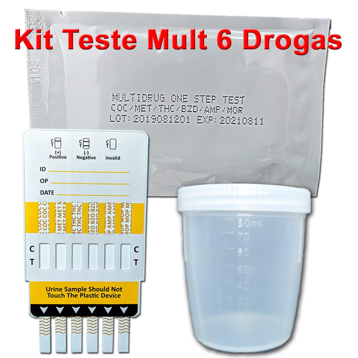 20 Kits Para Testes Mult 6  - Testes Para Drogas e COVID-19. Máscaras e Como Parar de Beber e Fumar