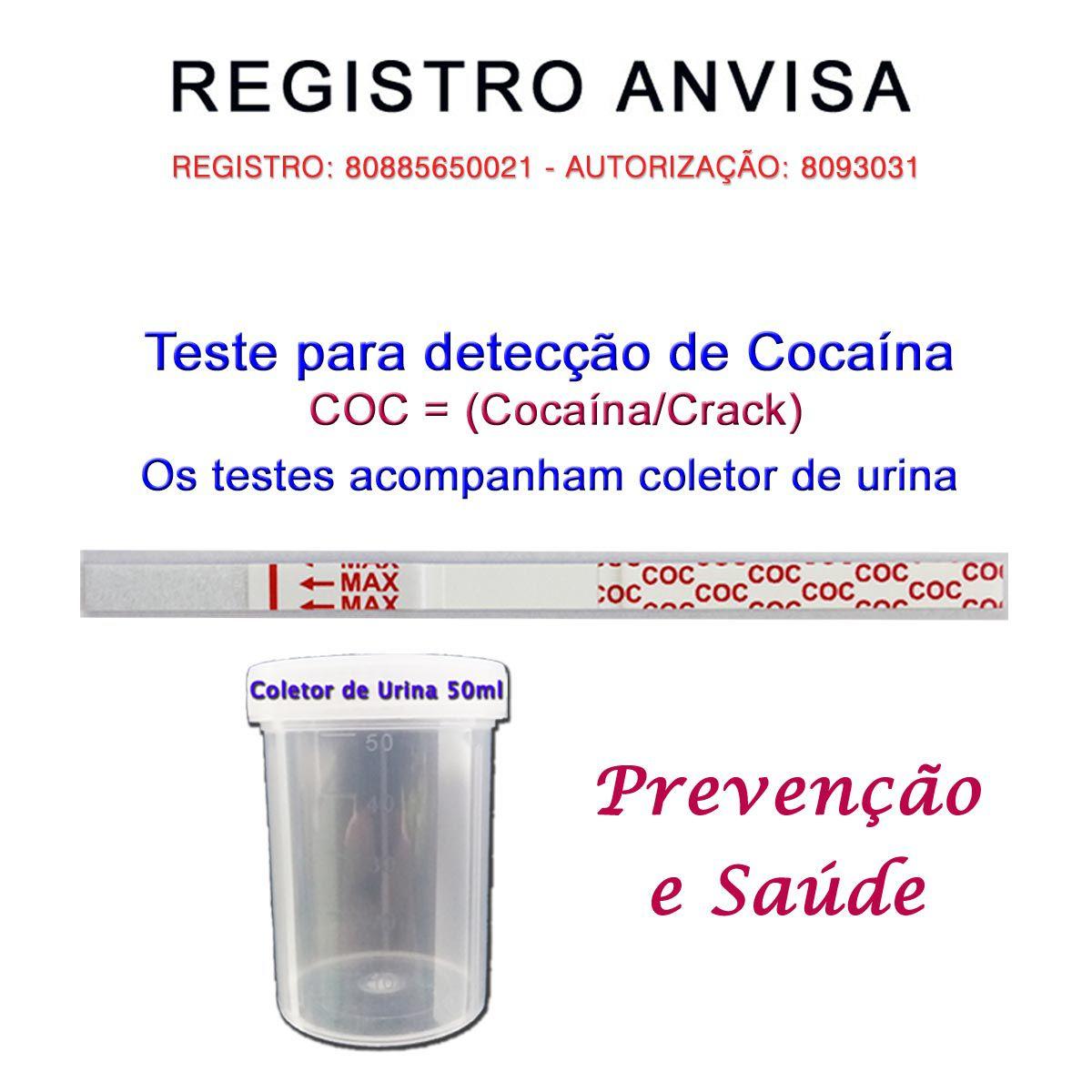 25 Kits para teste de COC-CRACK  - Testes Para Drogas e Parar de Beber e Fumar
