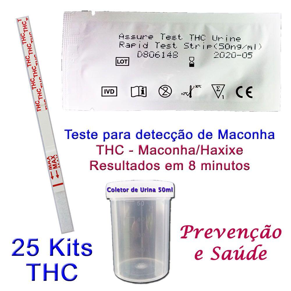 25 Kits Para Teste de THC  - Testes Para COVID e Drogas. Máscaras Descartáveis e Suplementos e Anti Tabaco