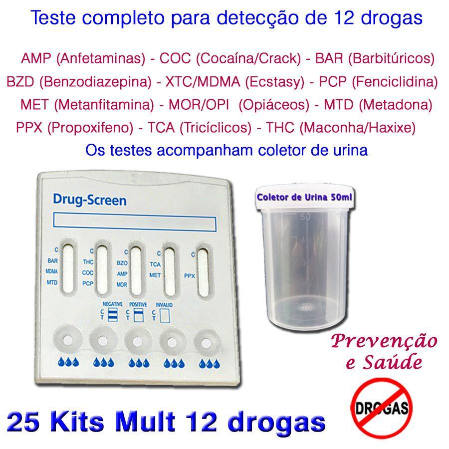 25 Kits para testes de 12 substâncias  - Prevenção e Saúde