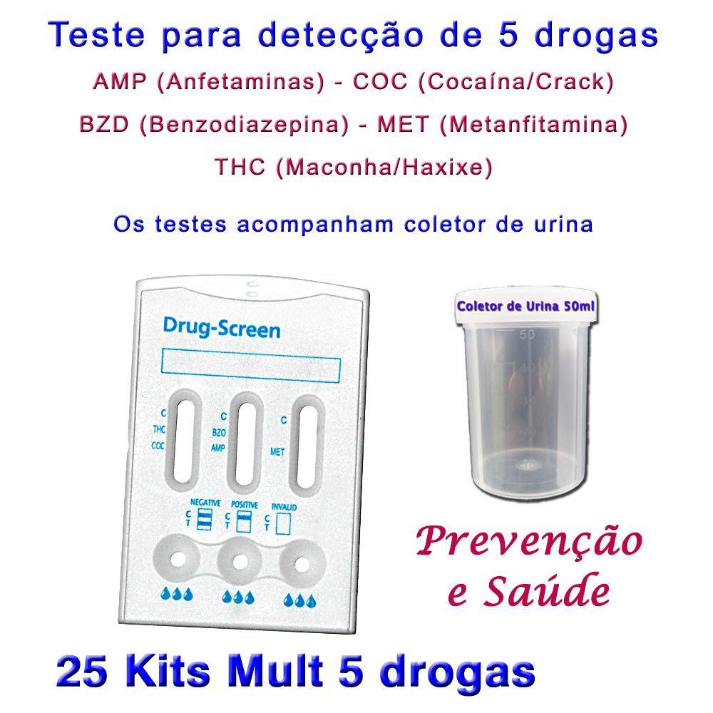 25 Kits para testes de 5 substâncias  - Testes Para Drogas e COVID-19. Máscaras e Como Parar de Beber e Fumar