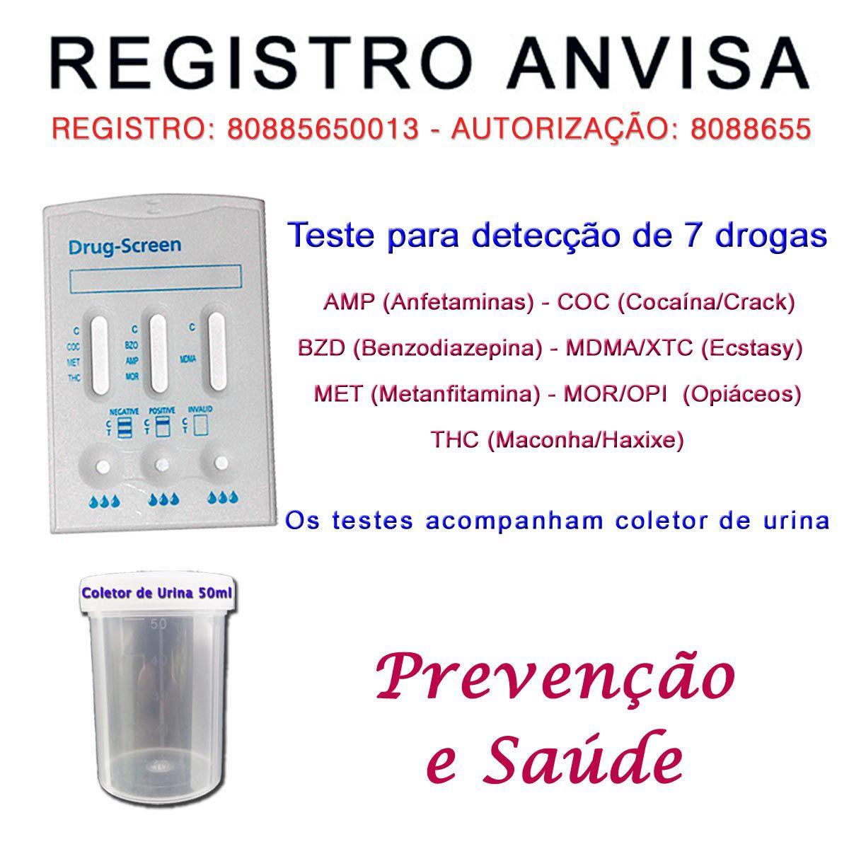 25 Kits para testes de 7 substâncias  - Testes Para Drogas e Parar de Beber e Fumar