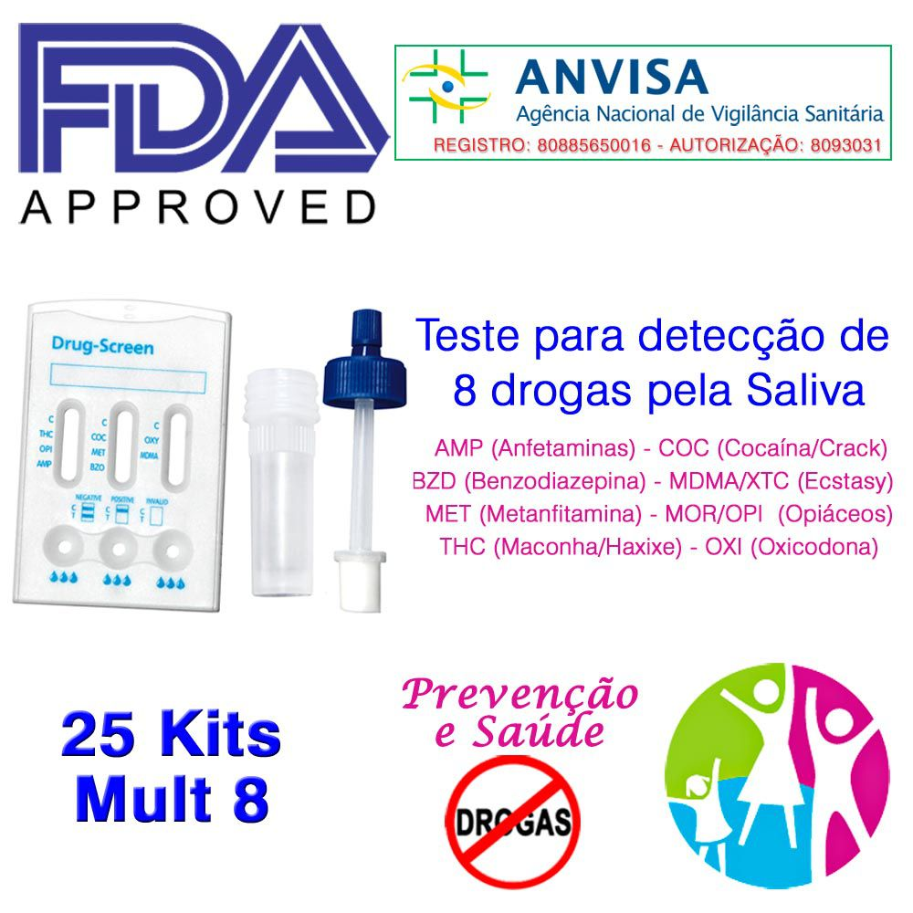 25 Kits para testar oito substâncias com coletor  - Prevenção e Saúde