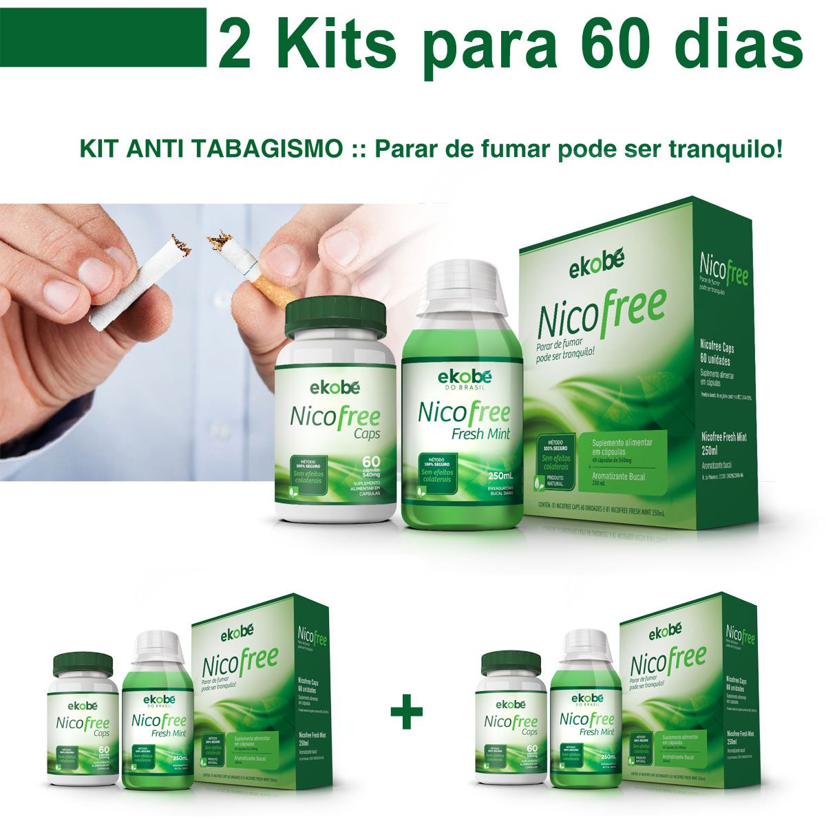 2 Kits Pare de Fumar Com Nico Free Antitabagismo  - Testes Para Drogas e COVID-19. Máscaras e Como Parar de Beber e Fumar