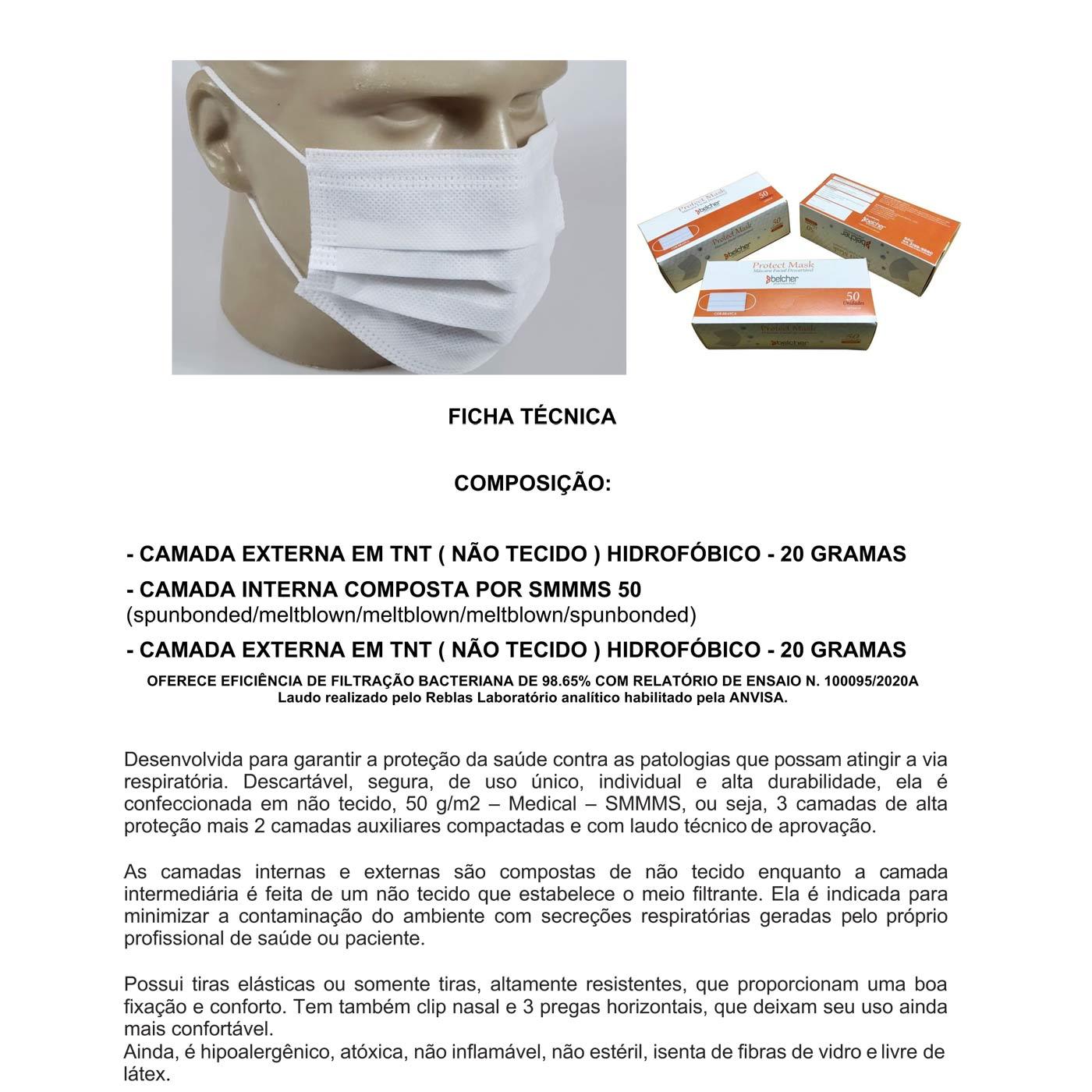 Proteção Cirúrgica Descartável Três Camadas SMMMS-50 TNT - 2 Caixas 100 unidades  - Testes Para Drogas e COVID-19. Máscaras e Como Parar de Beber e Fumar