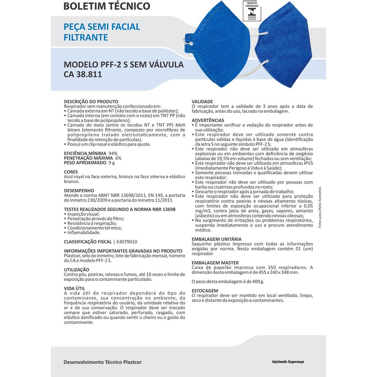Protetor Facial PFF-2 S - N95 Com CA 38811 - 10 Unidades  - Testes Para Drogas e COVID-19. Máscaras e Como Parar de Beber e Fumar