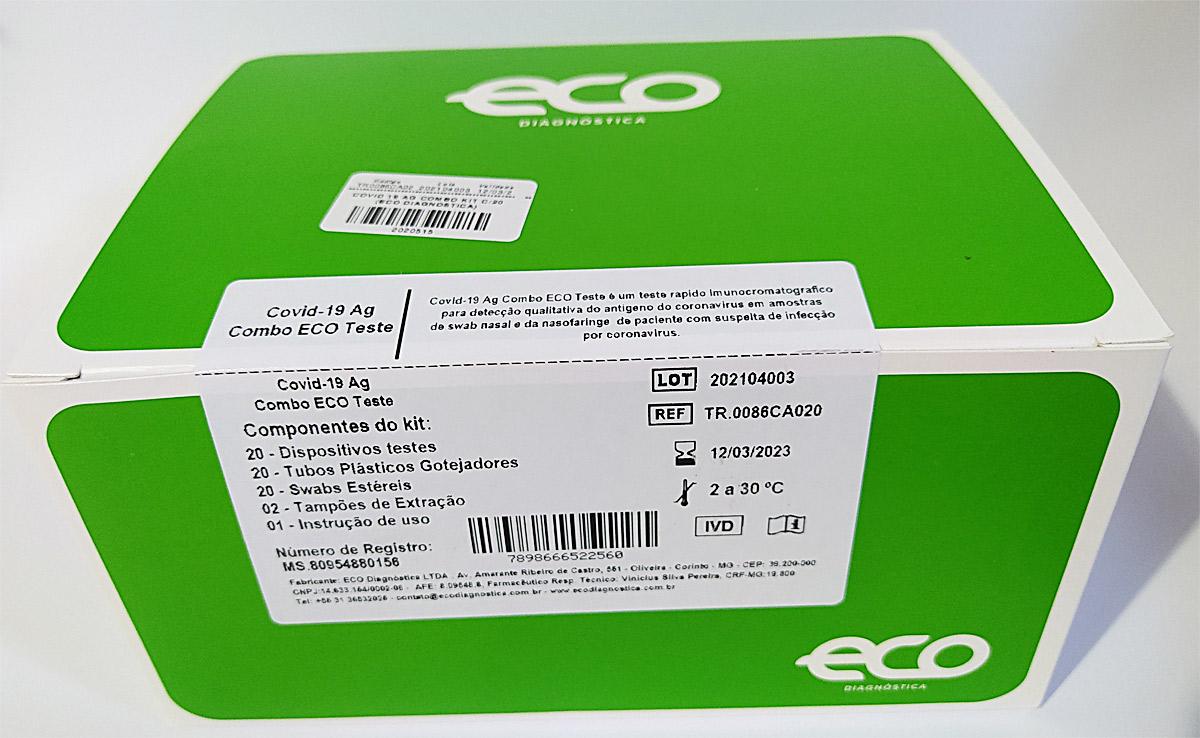 Teste Rápido COVID-19 Ag - Antígeno ECO - Caixa com 20 unidades  - Testes Para COVID e Drogas. Máscaras Descartáveis e Suplementos e Anti Tabaco