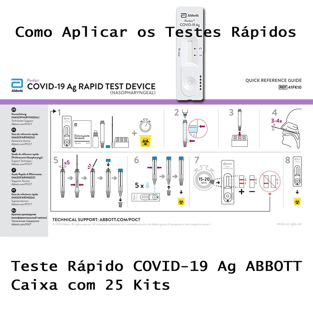 Teste Rápido COVID-19 Antígeno Ag - ABBOTT - 05 Caixas com 125 testes/kit  - Testes Para Drogas e COVID-19. Máscaras e Como Parar de Beber e Fumar