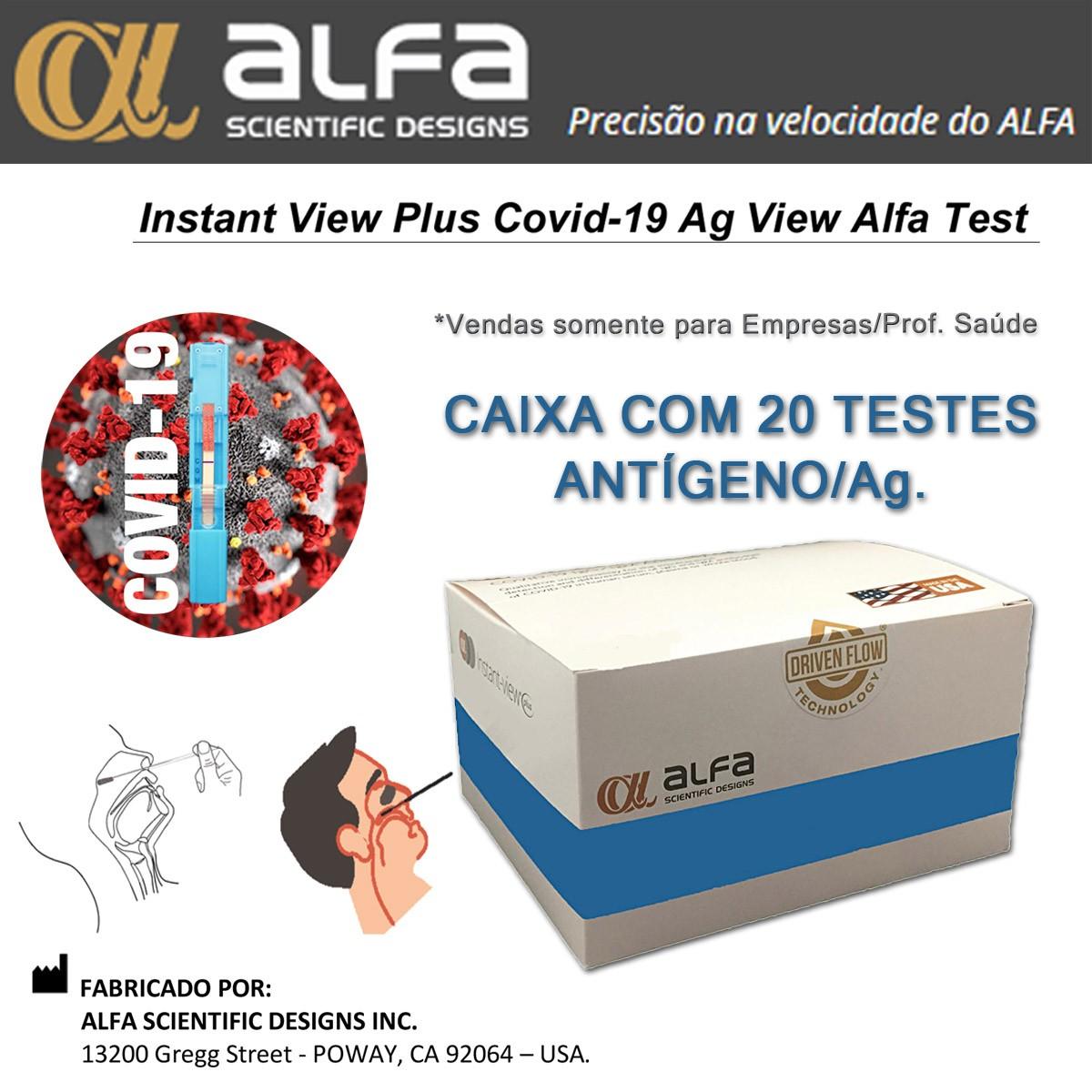 Teste Rápido COVID-19 Antígeno Ag - ALFA - Caixa com 20 unidades  - Testes Para Drogas e COVID-19. Máscaras e Como Parar de Beber e Fumar