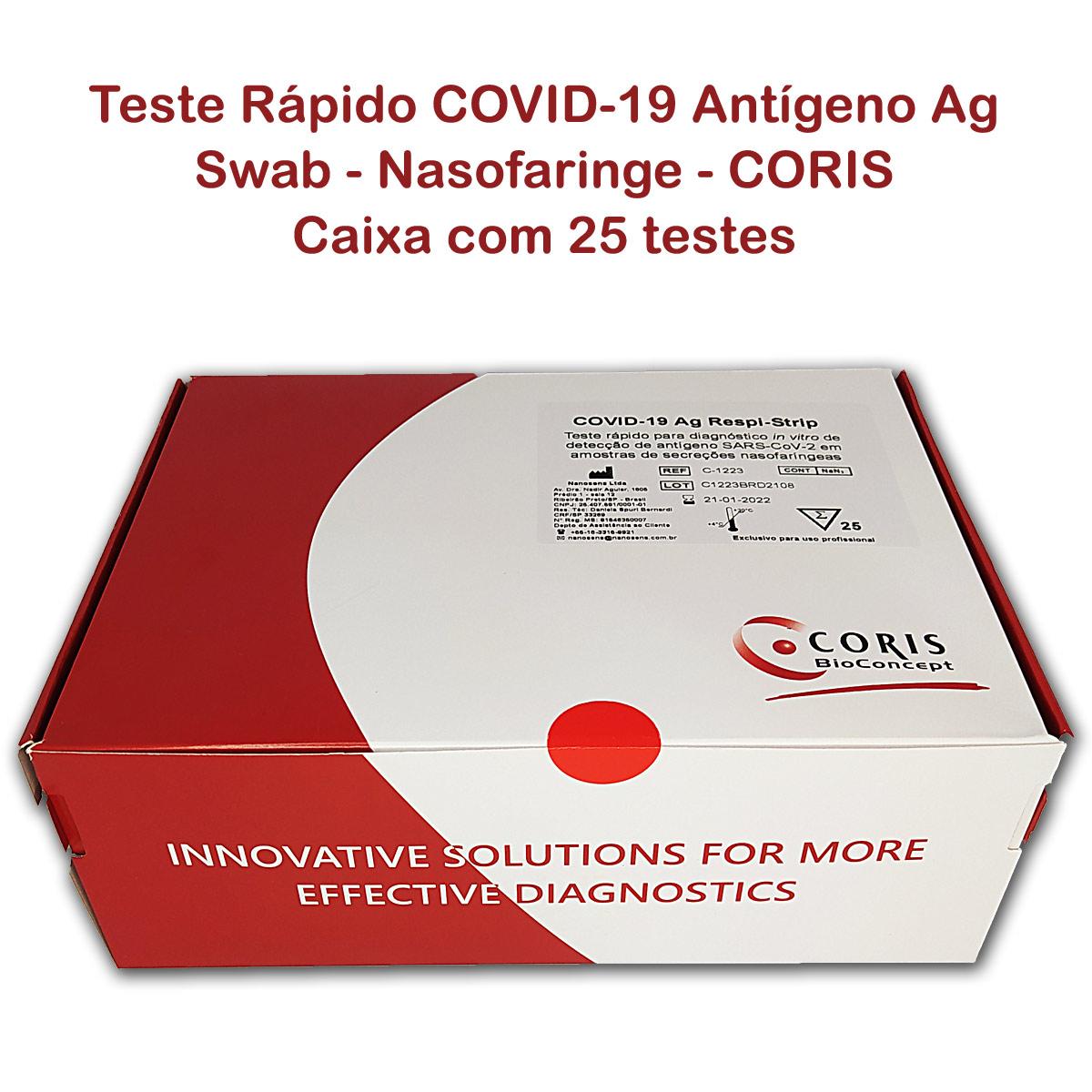 Teste Rápido COVID-19 Antígeno Ag - CORIS - Caixa com 25 testes/kit  - Testes Para COVID e Drogas. Máscaras Descartáveis e Suplementos e Anti Tabaco