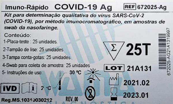Teste Rápido COVID-19 Antígeno Ag - Wama - Caixa com 25 testes  - Testes Para Drogas e COVID-19. Máscaras e Como Parar de Beber e Fumar
