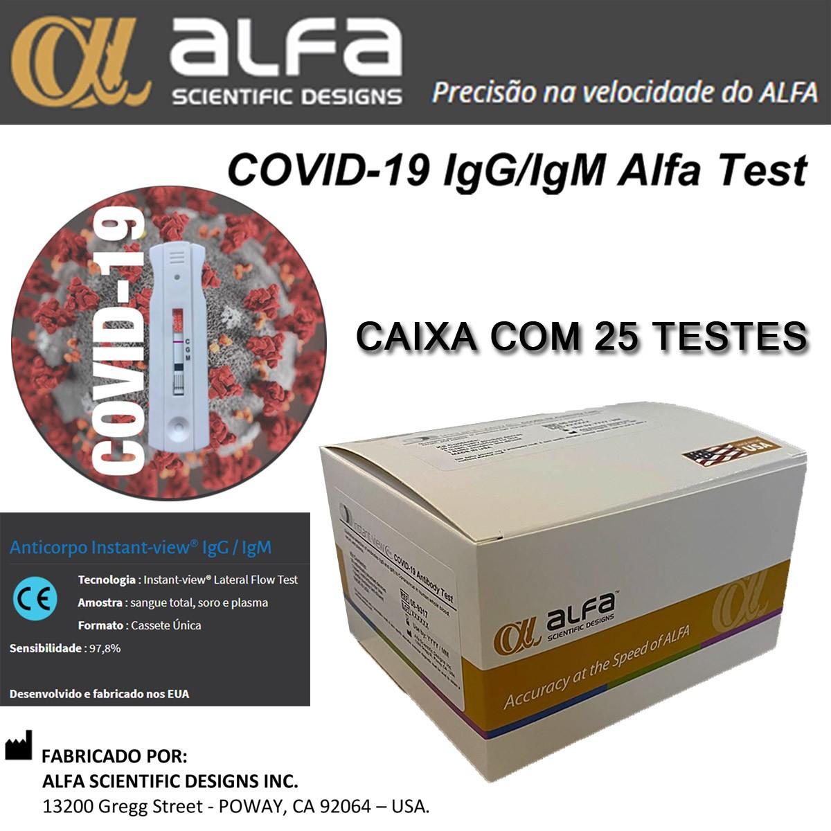 Teste Rápido COVID-19 IgM/IgG ALFA (USA) - Caixa com 25 unidades  - Testes Para Drogas e COVID-19. Máscaras e Como Parar de Beber e Fumar
