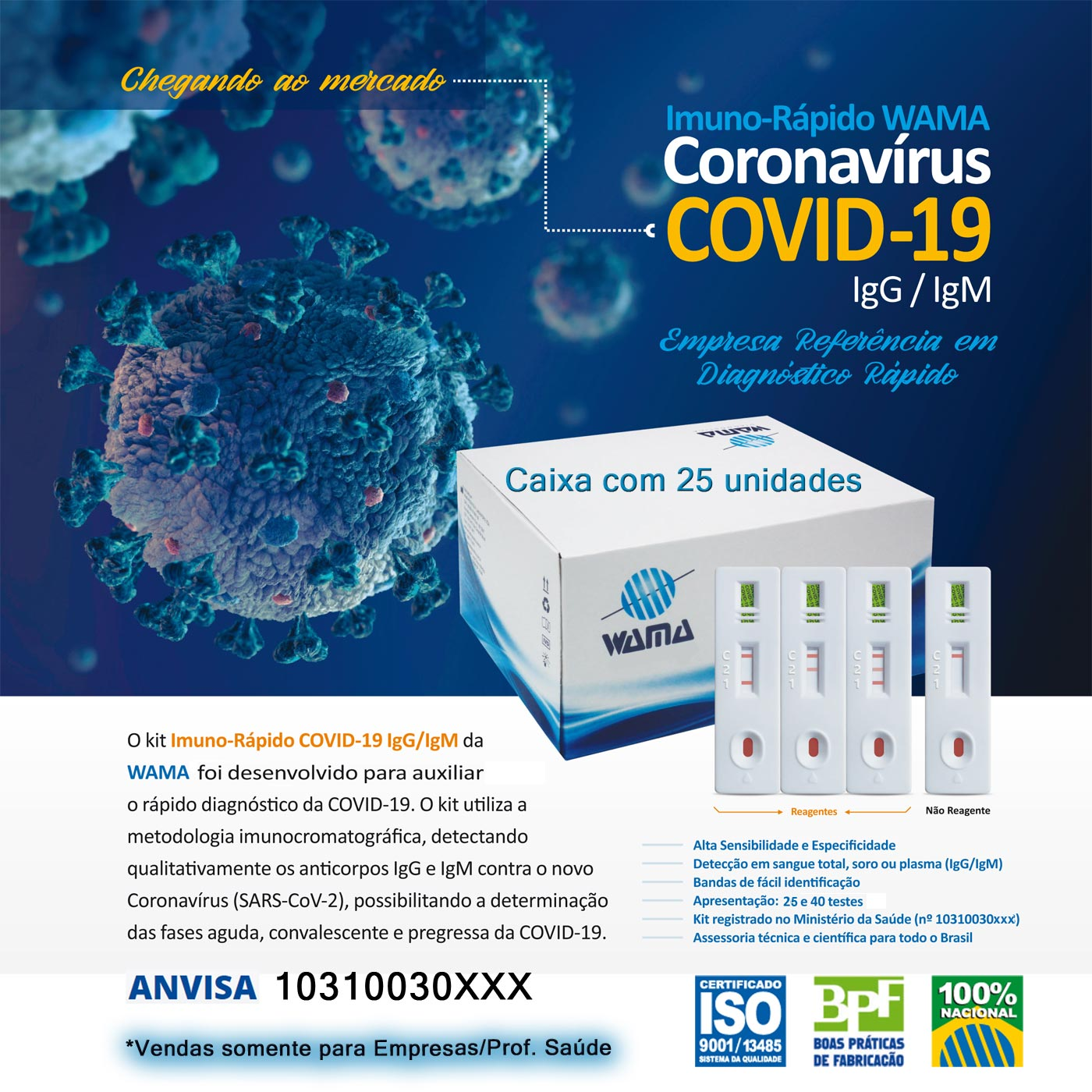 Teste Rápido COVID-19 IgM/IgG - Wama - Caixa com 25 unidades  - Testes Para Drogas e COVID-19. Máscaras e Como Parar de Beber e Fumar