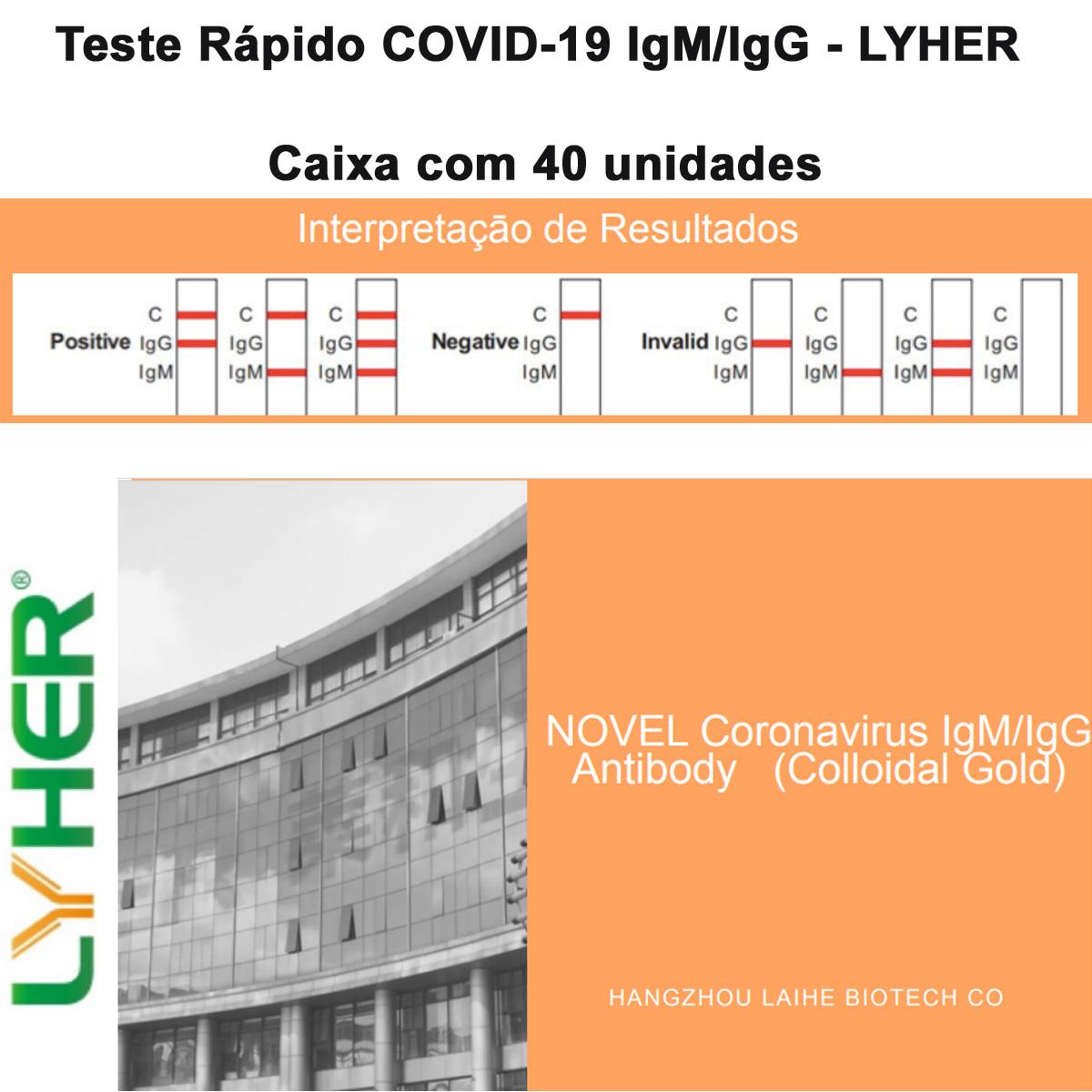 Teste Rápido COVID-19 IgM/IgG - LYHER - Caixa com 40 unidades  - Testes Para COVID e Drogas. Máscaras Descartáveis e Suplementos e Anti Tabaco