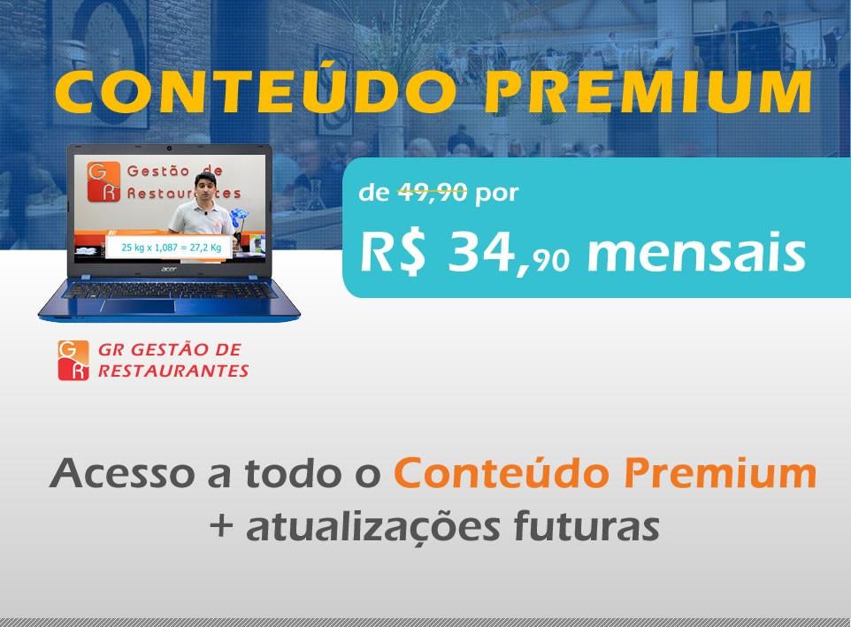 Conteúdo Premium (Todos os Cursos) - Plano Anual  - GR - Treinamento em Gestão de Restaurantes e Gastronommia