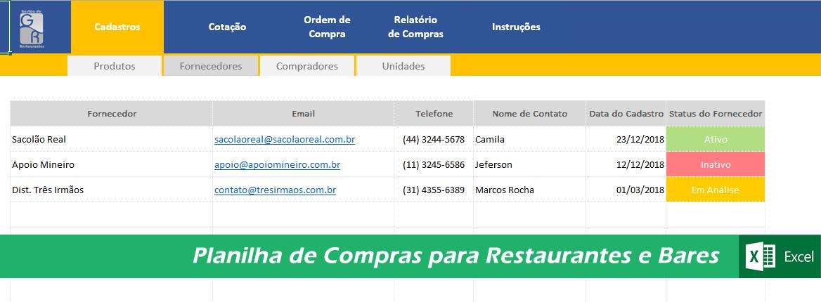 Planilha de Compras - COD 0214  - GR - Treinamento em Gestão de Restaurantes e Gastronommia