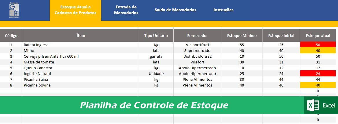 Planilha de Controle de Estoque para Restaurantes - Cod 0004  - GR - Treinamento em Gestão de Restaurantes e Gastronommia
