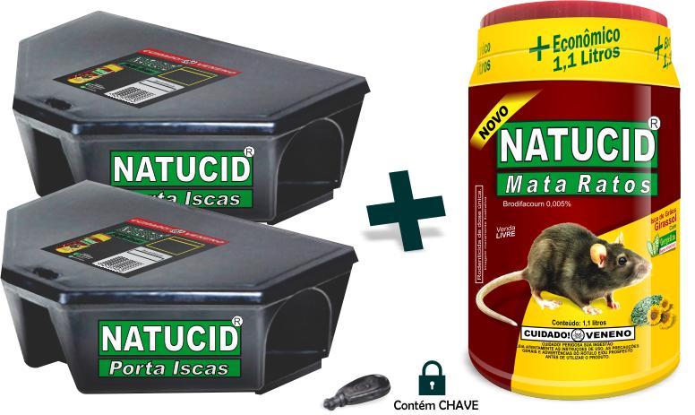 01 un Kit Iscas Natucid Mata Ratos pote Econômico 1,1L + 02 Un Natucid Porta iscas Profissional com chave, Prático Rápido e Seguro.
