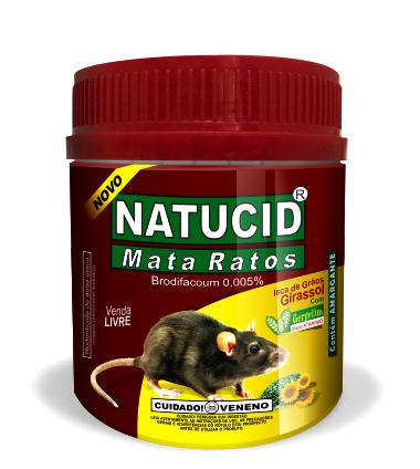 Isca Natucid Mata Ratos pote 75gr de Grãos de Girassol com gergelim super atrativa, eficaz contra ratazanas e camundongos.