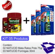 KIT Raticida Natucid Mata Ratos  02 uni + Inseticida Natucid 30ml Cartelas 03 uni eficaz contra Formigas, Cupins, Baratas, Pulgas e Carrapatos.