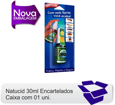 01 frasco Natucid Cartelas 30ml Inseticida domestico, mata Formigas, Cupins, Baratas, Pulgas e Carrapatos.