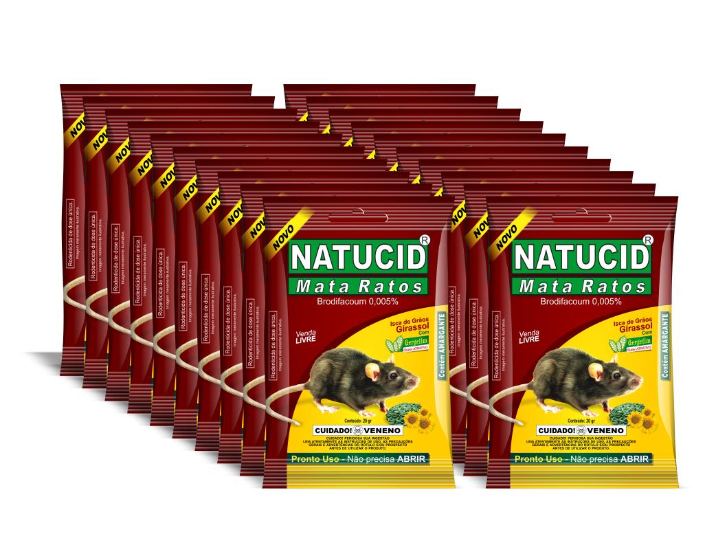 Natucid Mata Ratos Girassol Sachês caixa com 20 unidades.